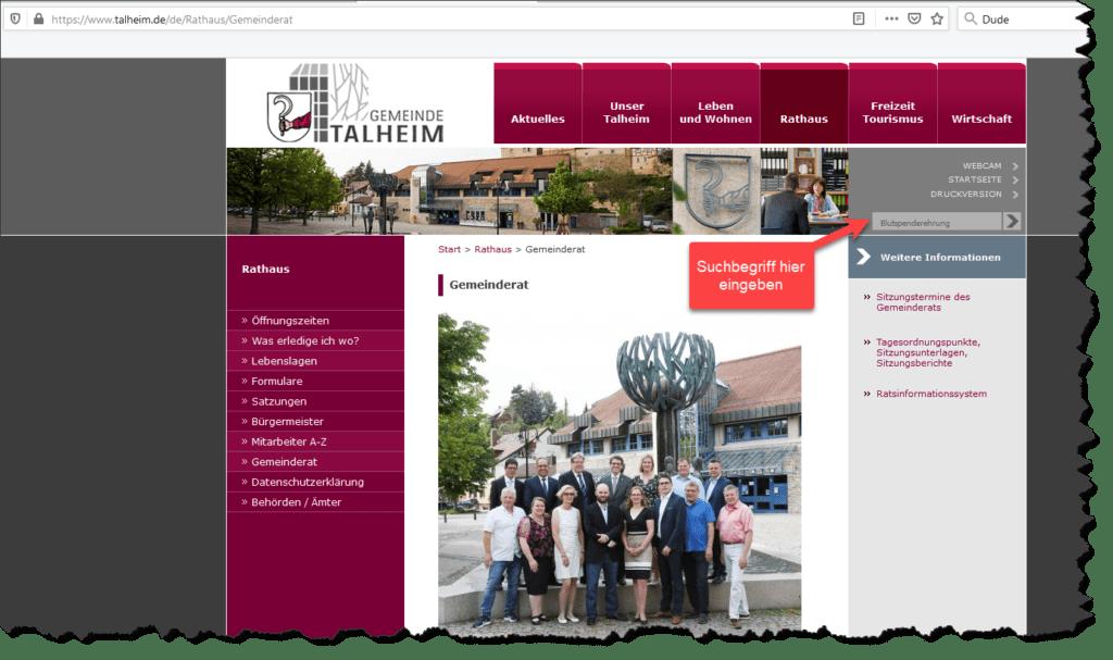 Suchfeld Homepage Gemeinde Talheim
